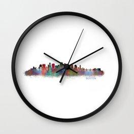 Boston City Skyline Hq V2 Massachusetts Wall Clock