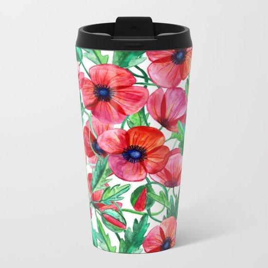 Plenty of Poppies - white Metal Travel Mug