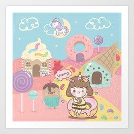 Princess Cute in Candyland Art Print
