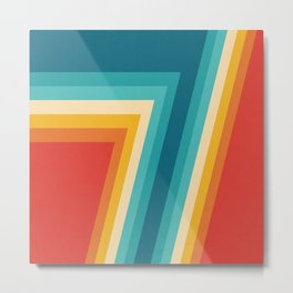 Colorful Retro Stripes  - 70s, 80s Abstract Design Metal Print