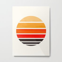 Orange Mid Century Modern Minimalist Circle Round Photo Staggered Sunset Geometric Stripe Design Metal Print