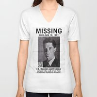 dale cooper V-neck T-shirts featuring Missing Dale Cooper ... 2016 by Allelujah