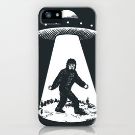 Bigfoot abducted by UFO iPhone Case