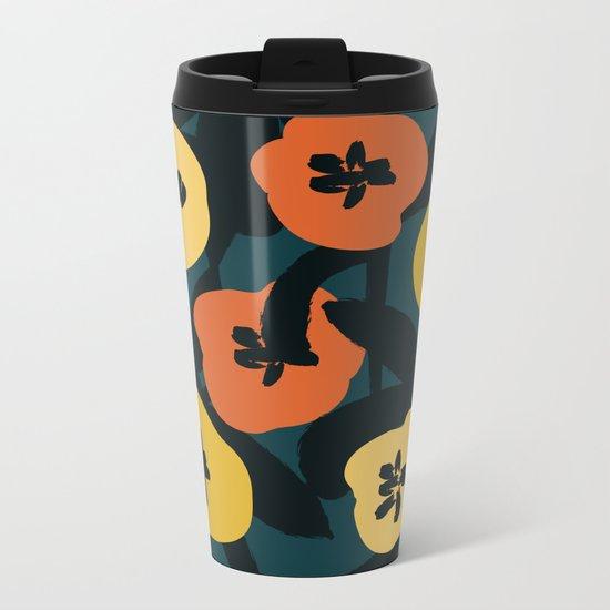Midnight Flowers Metal Travel Mug