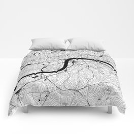 London Black and White Map Comforters