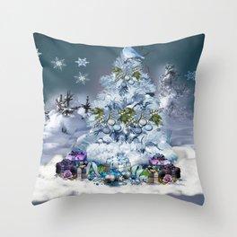 Snowy Blue Christmas Scene Throw Pillow