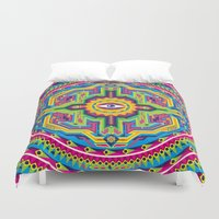 native american Duvet Covers featuring Native American Eye by Roberlan Borges