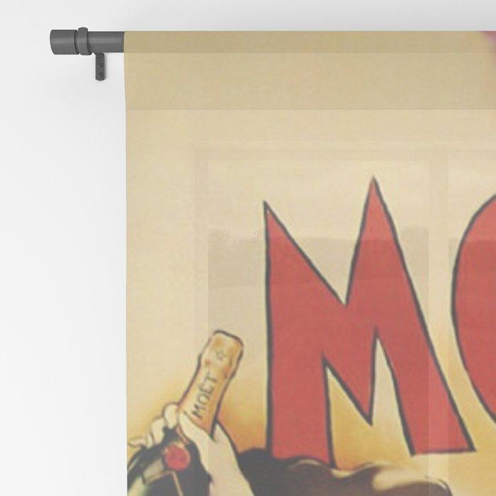 Vintage Moet Champagne Advertising Wall Art Sheer Curtain