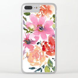 Pink and Purple Bouquet Clear iPhone Case