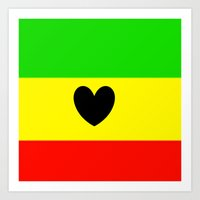 rasta Art Prints featuring Love Rasta  by shannon's art space
