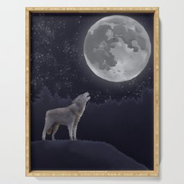 Gray Wolf Serving Tray
