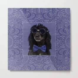 Poodle Dog with glasses and bow tie Metal Print