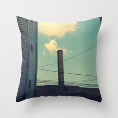 Chicago Clouds and Smokestack Throw Pillow