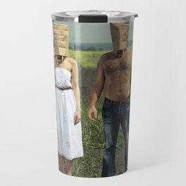 Paper bag couple Travel Mug
