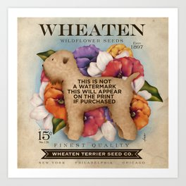 Wheaten Terrier Seed Company dog illustration by Stephen Fowler Art Print
