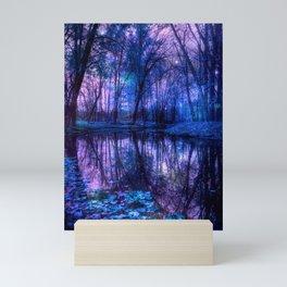 Enchanted Forest Lake Purple Blue Mini Art Print