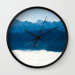 Swiss Alps Above Sea of Fog Wall Clock