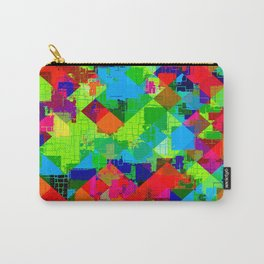 geometric square pixel pattern abstract in green red blue Carry-All Pouch