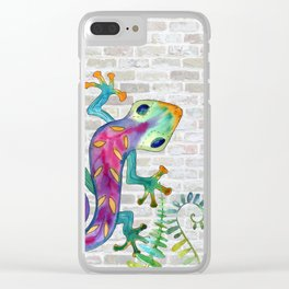 Tropical Gecko Clear iPhone Case