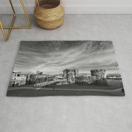 Caerphilly Castle Panorama Monochrome Rug