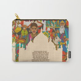 India cultural symbols patterns poster Carry-All Pouch