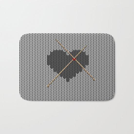 Original Knitted Heart Design Bath Mat
