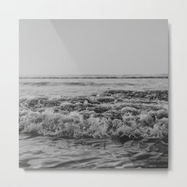 Black and White Pacific Ocean Waves Metal Print