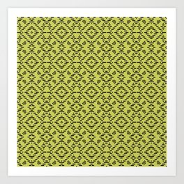 Lime Green Folk Art Pattern Art Print