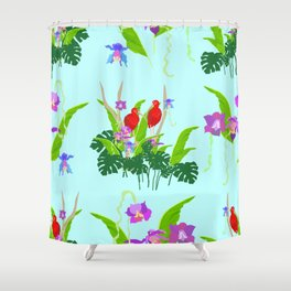 Scarlet ibis and orchids pattern Shower Curtain