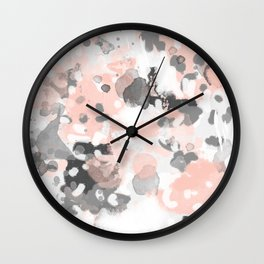 grey and millennial pink abstract painting trendy canvas art decor minimalist Wall Clock
