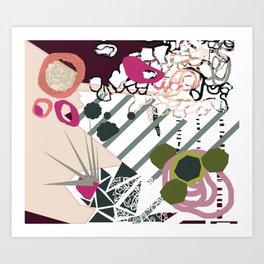 Modern feminine design - quirky 'bird' mixed media art - pinks, purples, blues, greens, grays Art Print