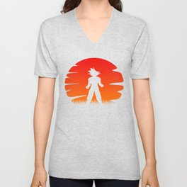 The sunset of super saiyan Unisex V-Neck