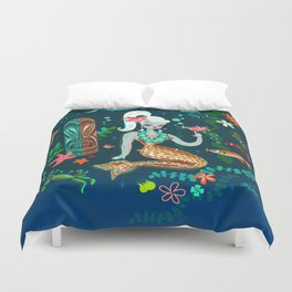 Blonde Leopard Martini Mermaid Duvet Cover