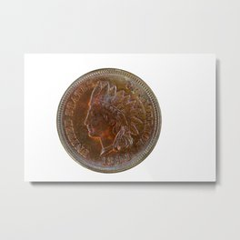 Pristine Indian Head penny on white background Metal Print