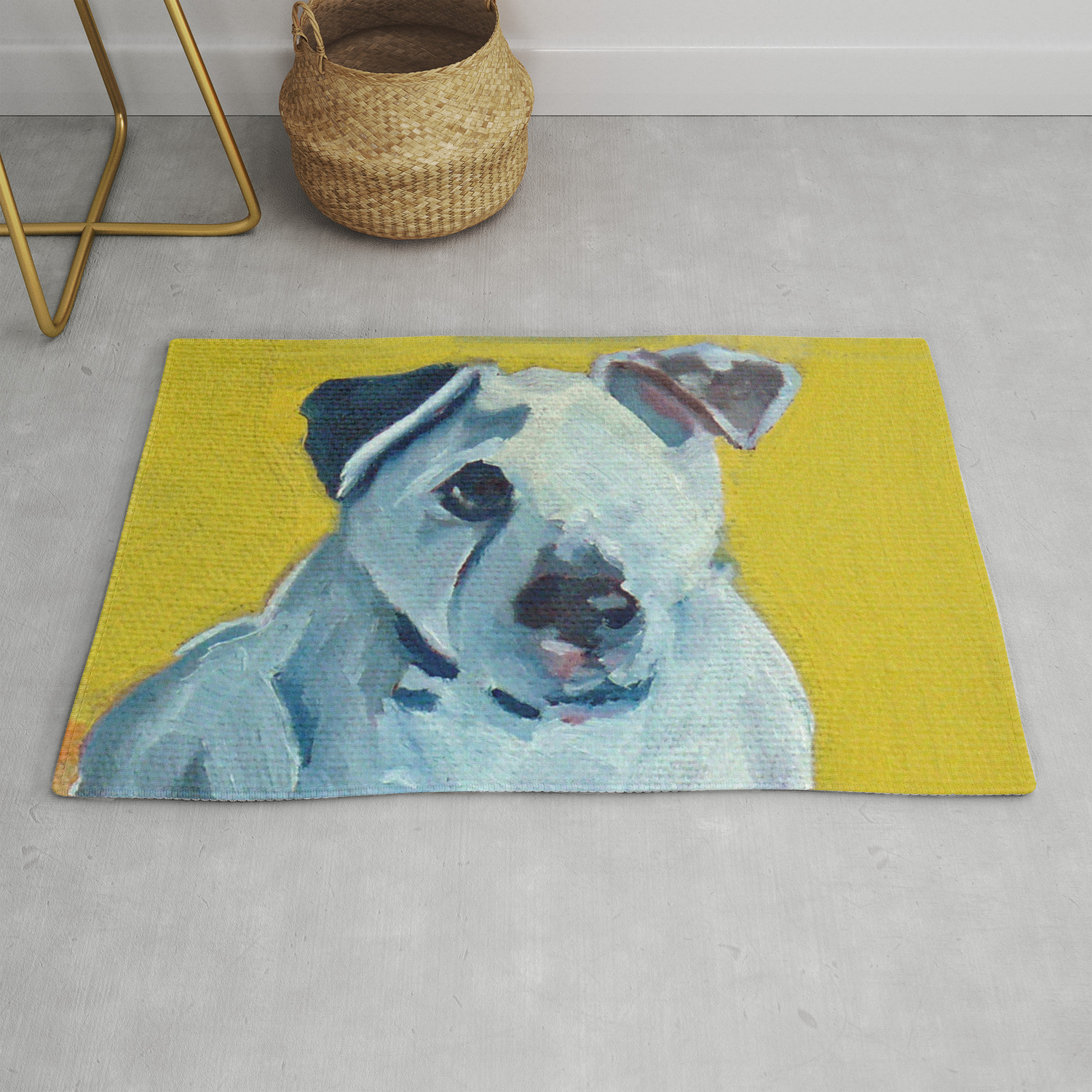 Beautiful Dolly The White Dog Rug By
