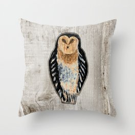Primitive Owl Graphic Carved Wood Board Throw Pillow