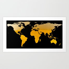 World Map Silhouette - Beer Art Print