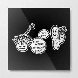 Cacti Ego - Black and White Trendy Succulent Illustration Metal Print