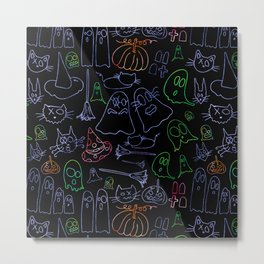 Spooky Cats and Ghosts Metal Print