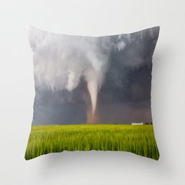 Lucky Day - White Tornado Kicks Up Dust Over Wheat Field in Texas Throw Pillow