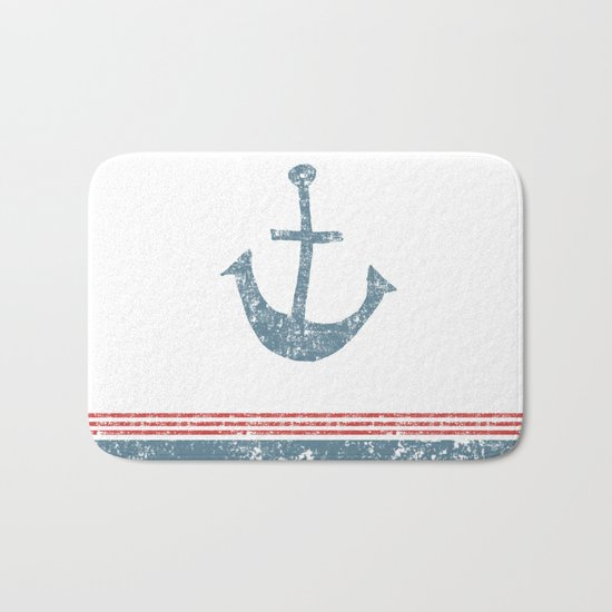 Maritime Design- Nautic Anchor on stripes in blue and red #Society6 Bath Mat