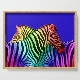 rainbow Colored Zebras Illustration - blue Serving Tray