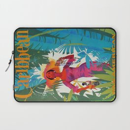 Vintage Colorful Caribbean Tropical Travel Poster Banana Leaves Palm Trees Woman Laptop Sleeve