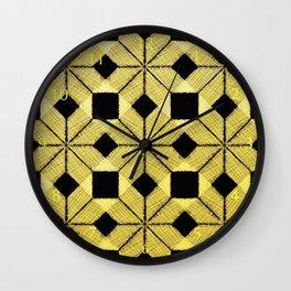 Golden Snow, Snowflakes #02 Wall Clock
