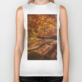 The Golden Autumn Campground (Color) Biker Tank