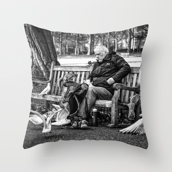 Phenomenal Life On The Bench Throw Pillow By Yannarnaud Caraccident5 Cool Chair Designs And Ideas Caraccident5Info