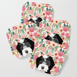Bernedoodle floral pet portrait art print and dog gifts Coaster