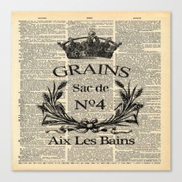 dictionary print rustic shabby french country wheat wreath Canvas Print