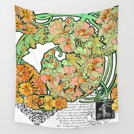 Romance in Paris, Art Nouveau Floral Nostalgia Wall Tapestry