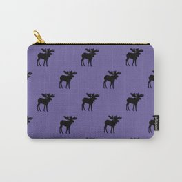 Bull Moose Silhouette - Black on Ultra Violet Carry-All Pouch